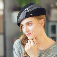 French Artist Beret Hat For Women Female Winter Fashion Black Red Plaid Wool Thick Berets Painter Octagonal Hats Caps M69