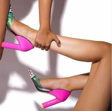 2017 Hot Sexy Fashion Transparent Colorblock Leopard Pumps Slip On Pink Chunky Women Party Shoes High Heels Pumps EU Size 42