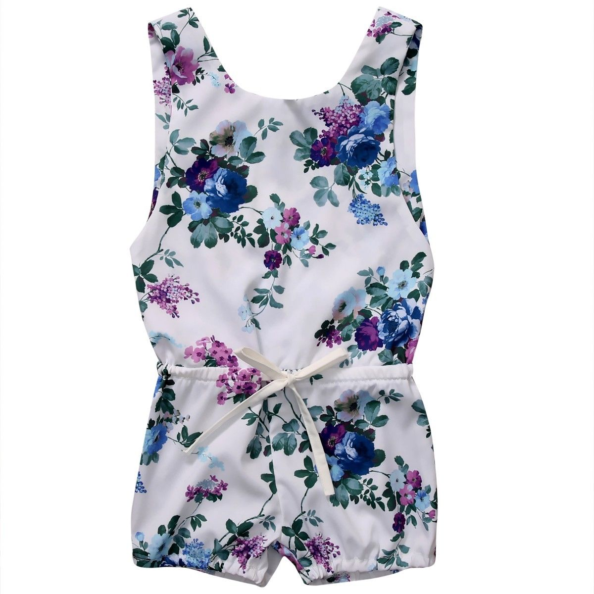 Newborn Kids Baby Girl Floral One-pieces Romper 2017 Summer Sleeveless Flower Backless Jumper Jumpsuit Outfit Clothes