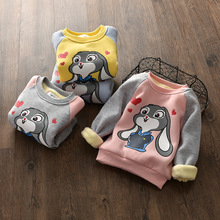 Baby Girls Winter Sweatshirt Warm Children Clothes Cute Rabbit Appliqued T shirt for New Cartoon Tees