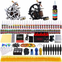 Solong Tattoo complete professional 2 tattoo Machine Guns set Tattoo Kit 54 Inks Power Supply Needle Grips power supply TK261 недорого