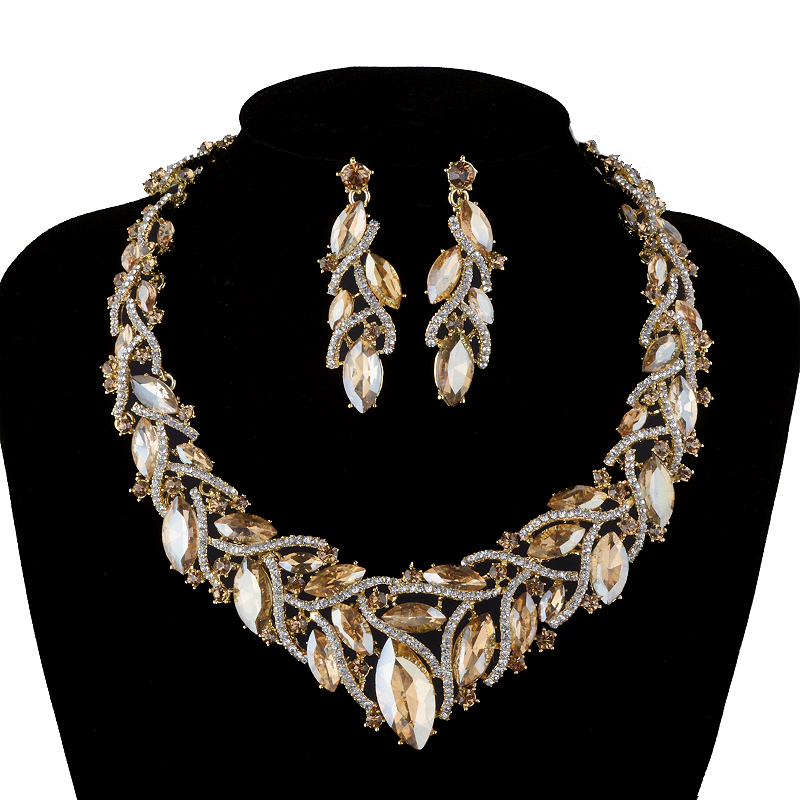 Fashion African Rhinestone Jewelry sets Bridal Wedding Necklace earrings Champagne Marquise Crystsal Women Party Jewelry chic rhinestone african plate shape pendant necklace and earrings for women
