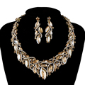Fashion African Rhinestone Jewelry sets Bridal Wedding Necklace earrings Champagne Marquise Crystsal Women Party Jewelry