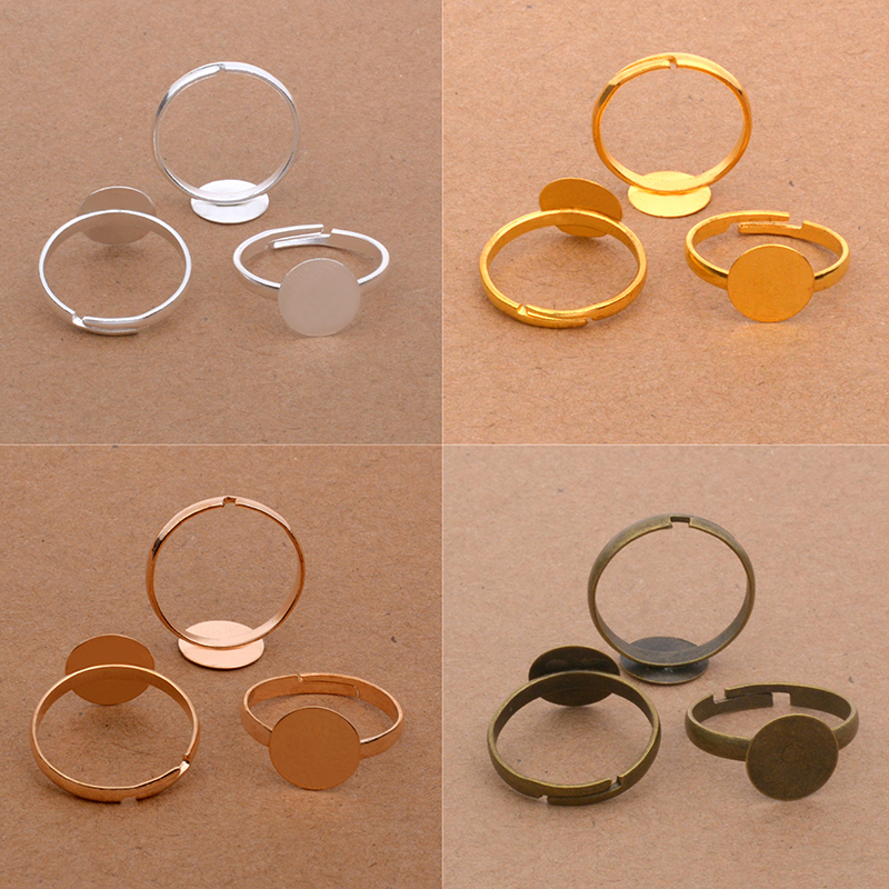 Hot Sale 40pcs/lot Open Ring Circle With Pad Adjusted Flat Ring Base 10mm Gold Silver Antique Bronze Plated For Jewelry Making