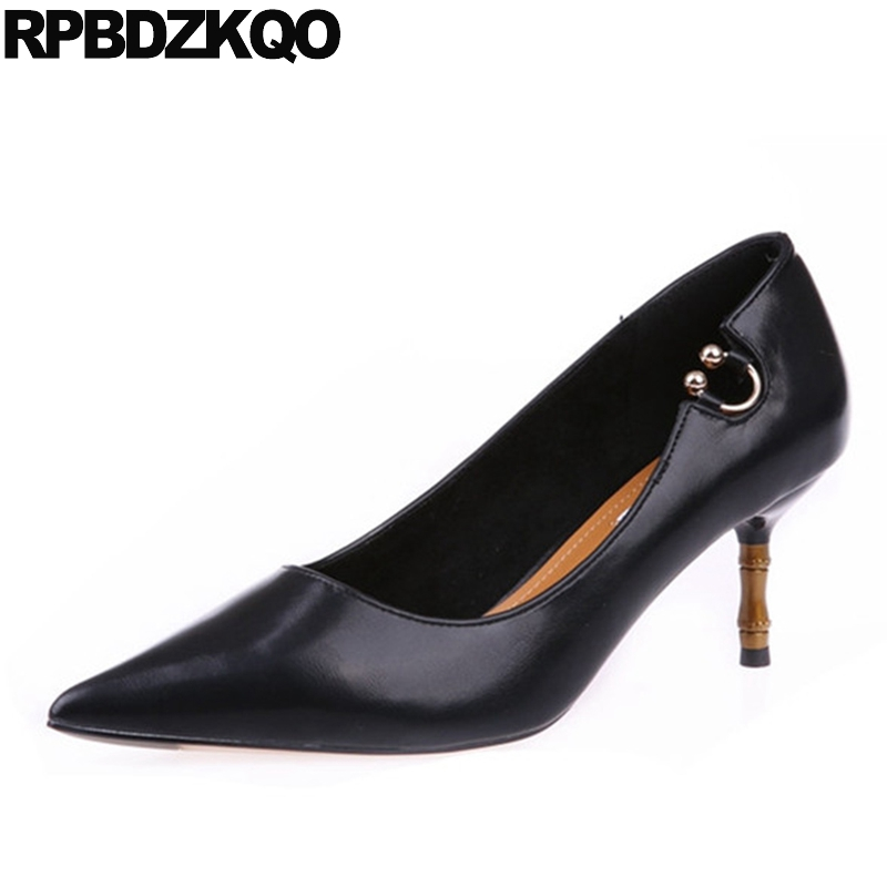 Thin Work New Chic Formal Modern Size 4 34 Pumps Office Medium Women Black Shoes Pointed Toe Elegant 3 Inch Metal Chinese women high heels pumps office nude shoes 3 inch formal elegant ladies size 4 34 slip on 2017 work court female chinese autumn