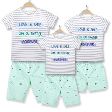 Hot sale parent-child wear fashion striped letter printing T-shirt spot a family of four travel group activities