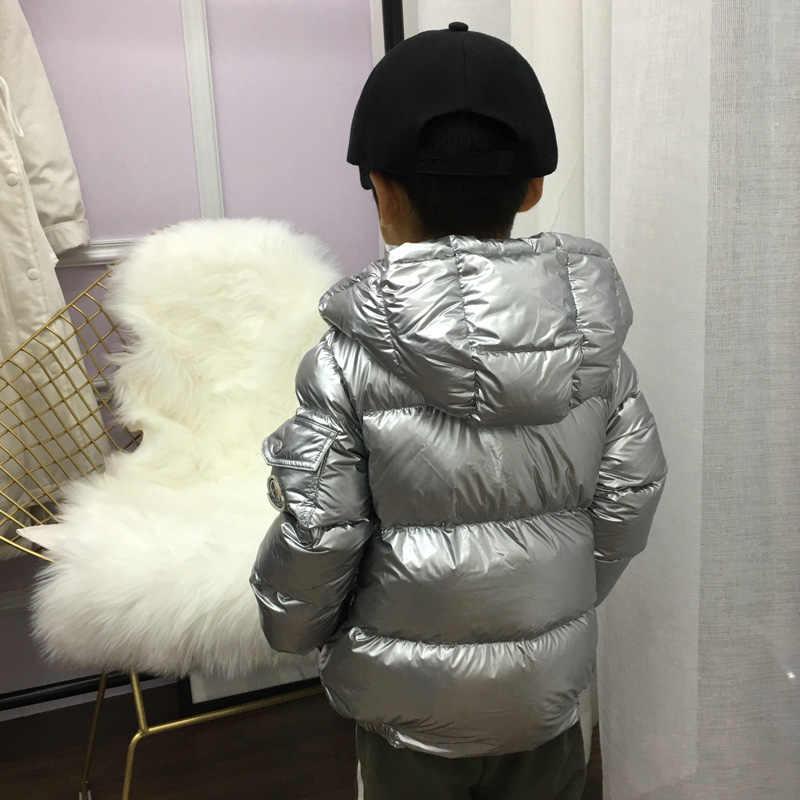 c184537c3488 ... 2018 модный детский Серебряный пуховик, детская парка для мальчиков и  девочек, утолщенная теплая куртка ...