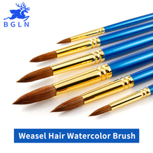 BGLN 6Pcs Set Weasel Hair Professional Watercolor Paint Brush With Box Watercolor Painting Brush Stationery Art