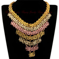 Noble Ethnic Vintage New Fashion 7 Layers 54cm Lebgth 3 Colors Mix Chain Choker Multilay Tassel Pendant Bib Necklace