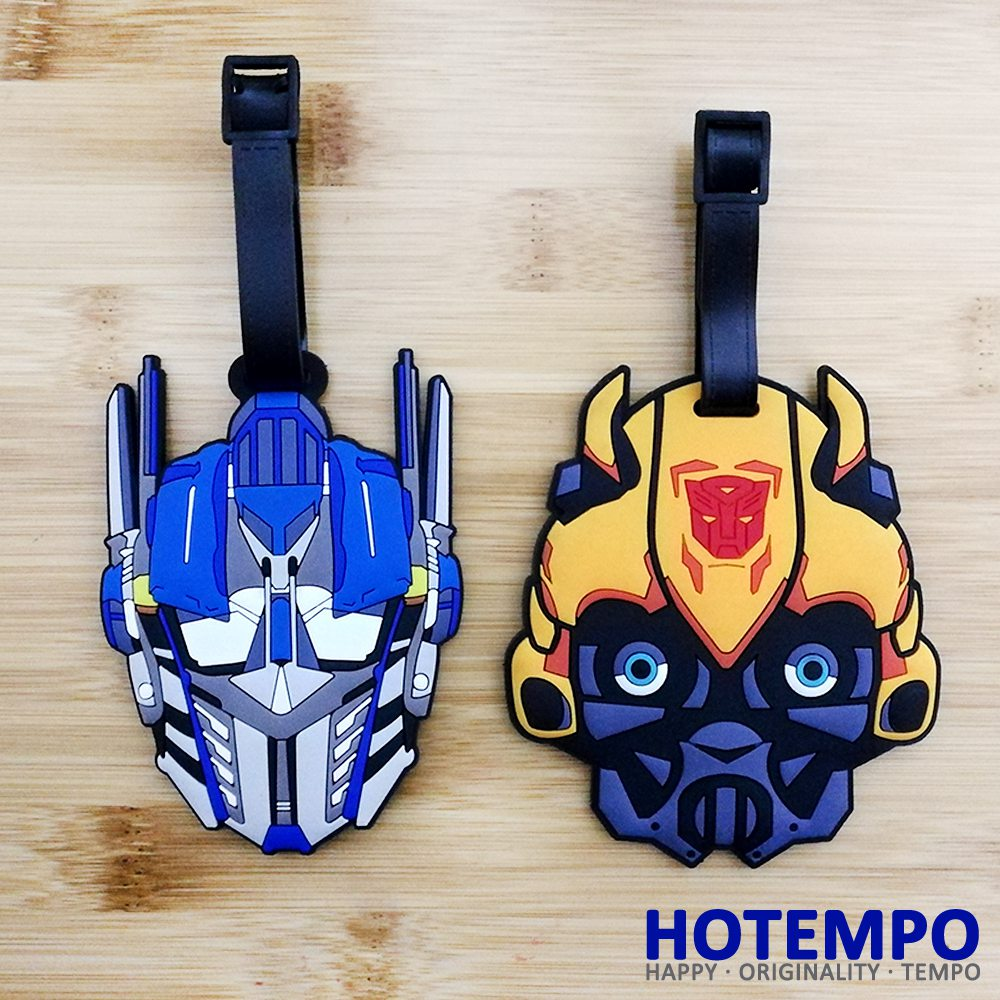 HOTEMPO Bumblebee Yellow and Blue Car Robot Action Figure Soft PVC Action Figure Luggage Pendant Toys Keychains Tag