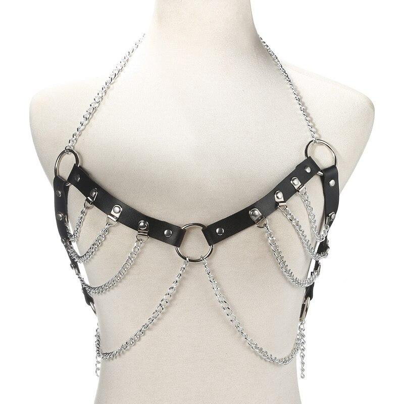 Faux Leather Body Chain BLACK Body Jewelry ZAFUL
