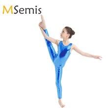 Детский Блестящий гимнастический купальник для девочек для танцев гимнастический костюм трико полный боди Купальники Детские колготки балетные трико комбинезон