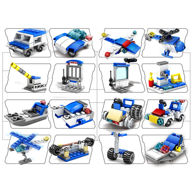 HUIQIBAO 305pcs 16in1 Police truck Car Building Blocks City Helicopter Speeding Construction Bricks Toys For children