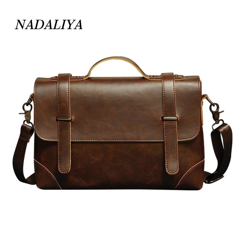9a149e0db67 Vintage Crazy PU Leather Herentas Laptoptas Businesstassen Hoge ...