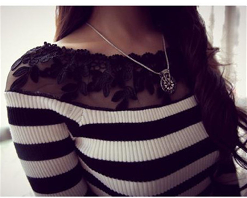 HTB1lfnOJXXXXXcIXpXXq6xXFXXXk - Blusa black white striped blouse shirts long sleeve