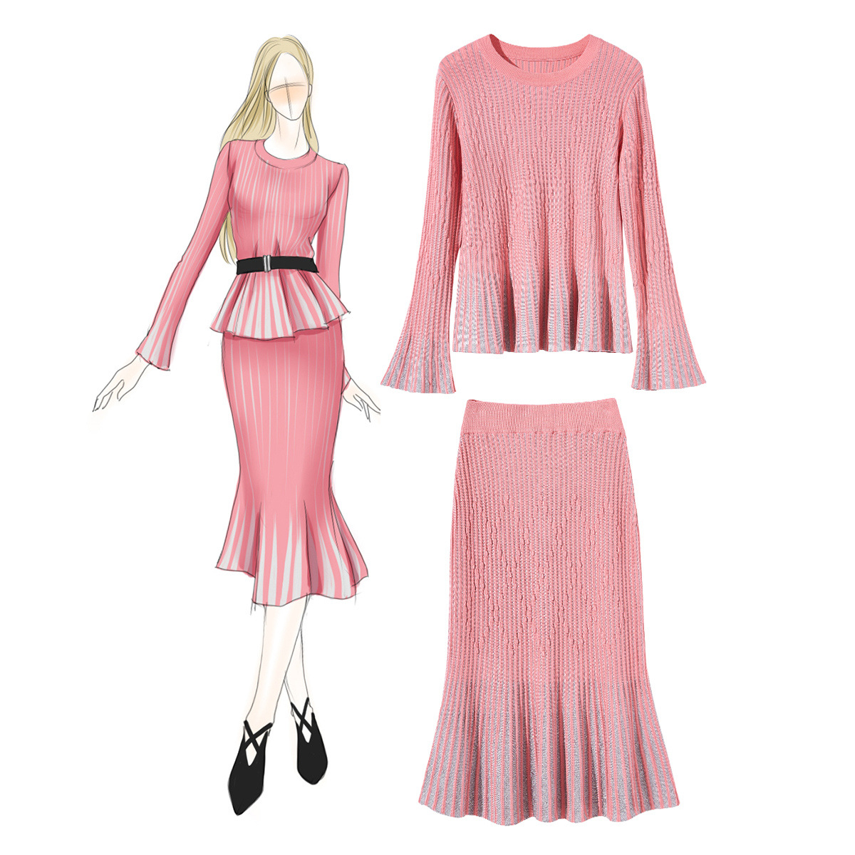 Knitting skirt sets 2 piece outfits for women spring 2019 new flare sleeve shirt jumper +slim hip fishtail skirt suit clothing
