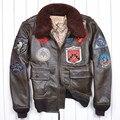 Especial Caliente Avirexfly Cuero Genuino Clásico de Los Hombres de Cuero de La Motocicleta Chaqueta de Tom Cruise Top Gun Air Force jaqueta de couro