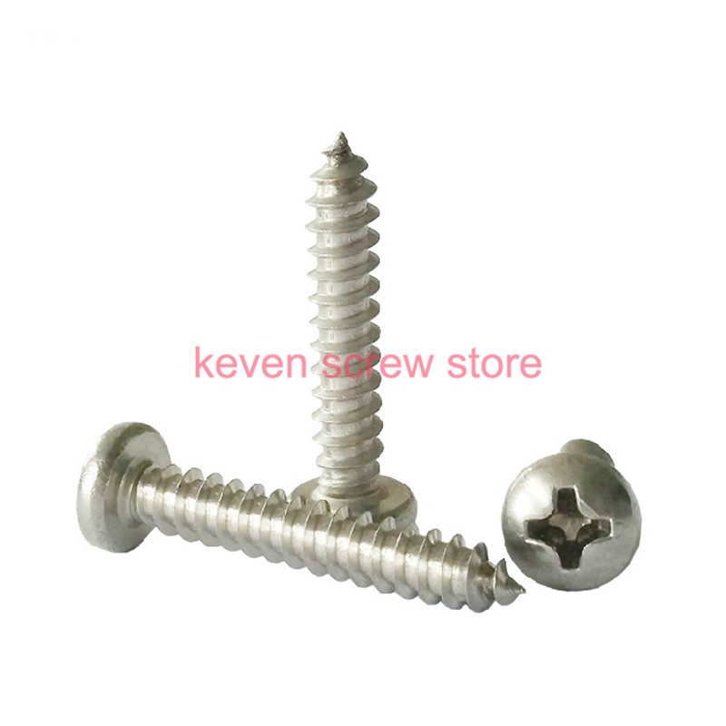 100pcs/lot Metric Thread M2.2x6.5 mm M2.2*6.5 mm 304 Stainless Steel Self tapping screws Pan Head Cap Screw Bolts yt807 304 stainless steel phillios self tapping screws cross recessed pan head tapping screw m5 xmm free shipping