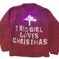 Funny Light Up Ugly Christmas Sweater For Kids Kawaii Fuzzy Baby Girls Knitted Christmas Pullover Sweaters