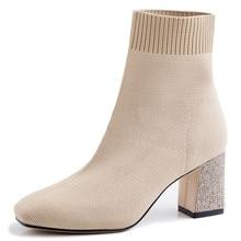 Meotina Autumn Sock Boots Women Rhinestone Chunky High Heels Ankle Boots Slim Knitting Square Toe Shoes Ladies Winter Size 34-39 стоимость