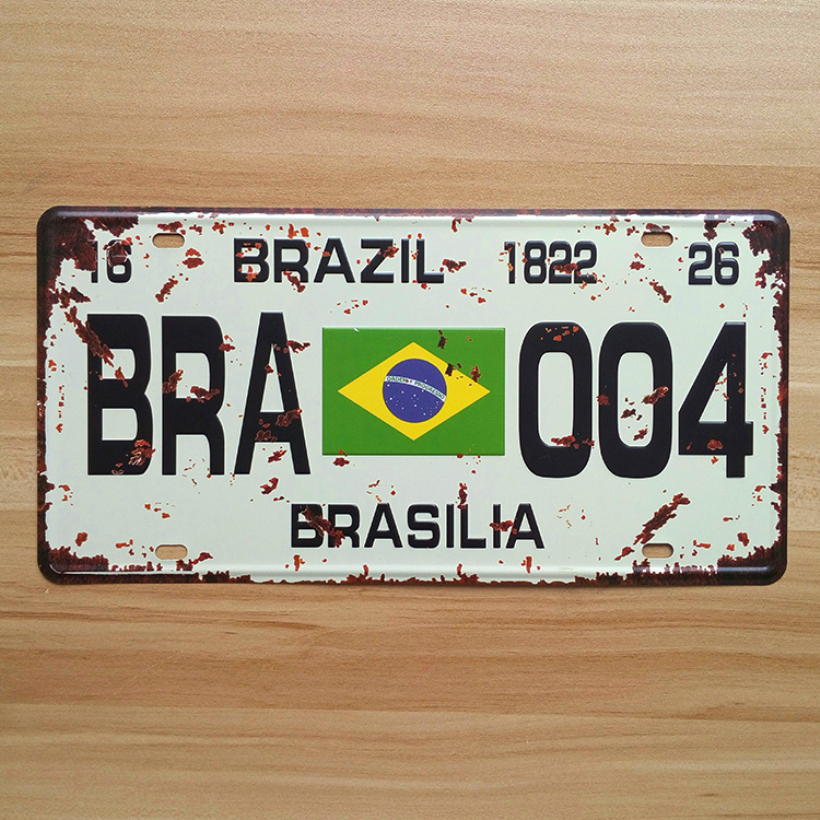 Vintage iron License CarPlates Number  Brazil BRA-004  metal tin signs UA-CP-0031 Retro Art wall craft decor Bar 30*15 CM