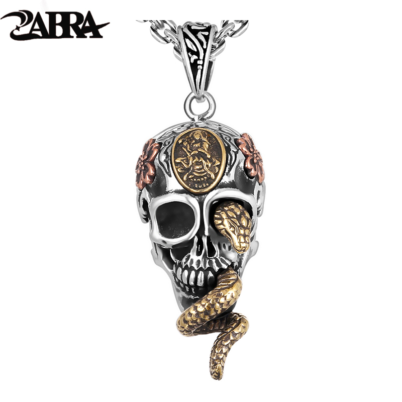 ZABRA Solid 925 Silver Skull Pendant Necklace For Biker Man Cool Snake Budda Sculpture Men Vintage