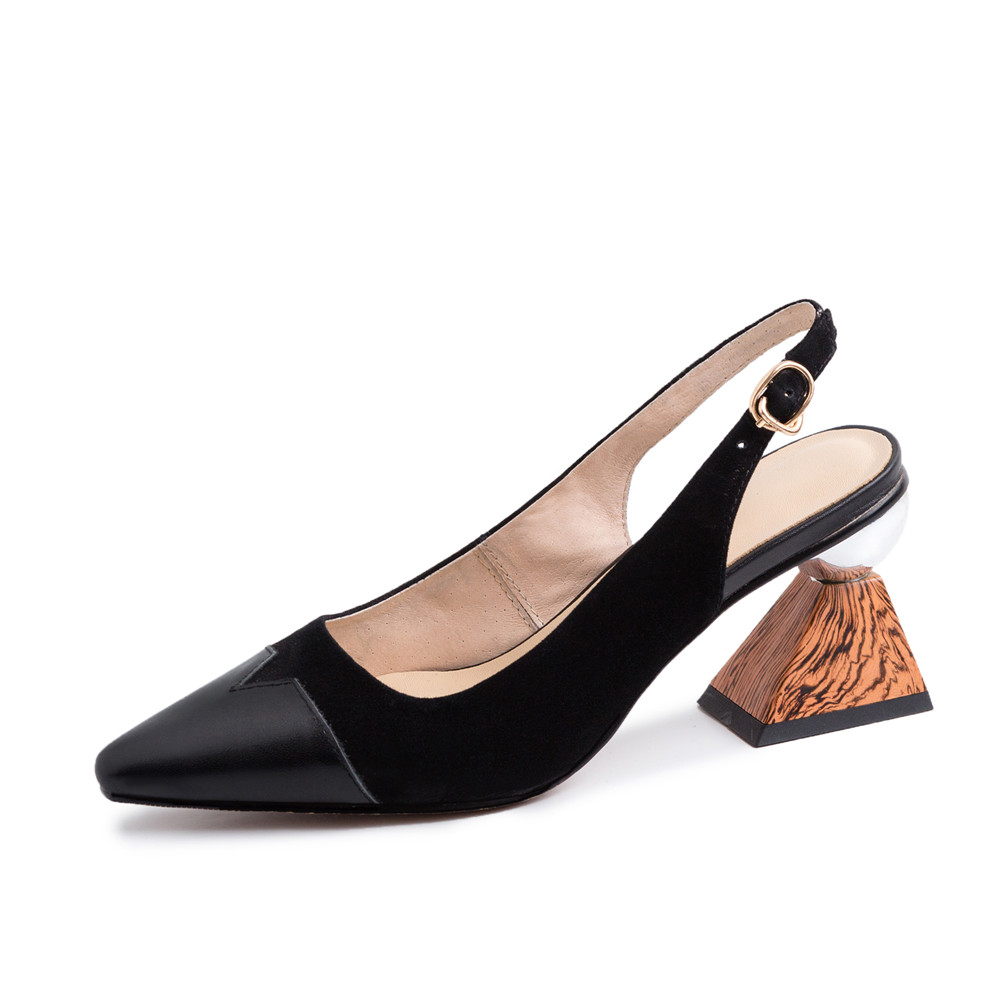 Blue Slingback ผู้หญิงไม้สามเหลี่ยม 7 ซม.รองเท้าส้นสูงทำงานสำนักงานสุภาพสตรีรองเท้าตื้นสีดำ Apricot Elegant MMS05 MUYISEXI-ใน รองเท้าส้นสูงสตรี จาก รองเท้า บน   2