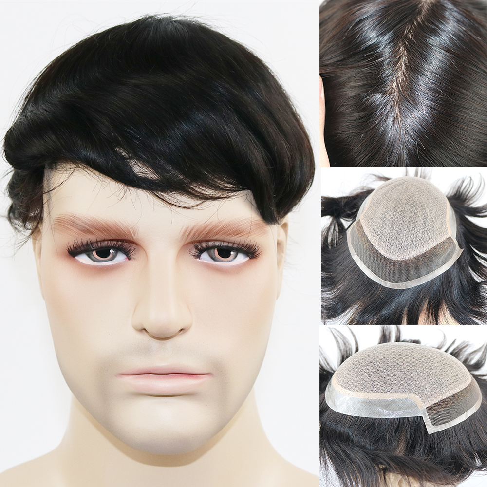 SimBeauty Silk Base With Swiss Lace In Front Men's Toupee 6x8 7x9 8x10 Human Hair Natural Hairline Hair Replacement System