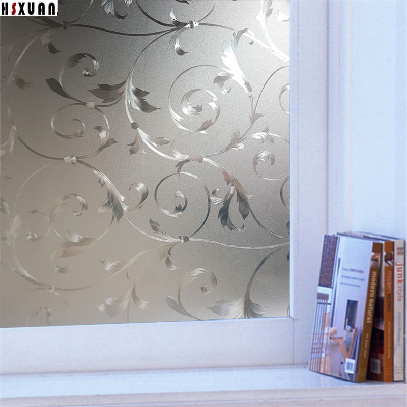 window film frosted 45x100cm 3D flower glass stickers on window decorative  home decor privacy film Hsxuan brand 450829