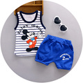 2016 Summer new children clothing cotton striped with character print baby boys vest sets  A059