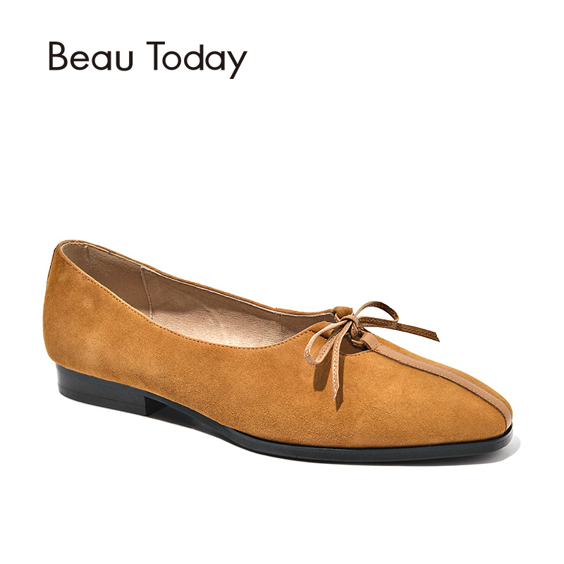 BeauToday Women Flats Butterfly-knot Mixed Leather Brand Square Toe Slip-On Lady Shoes Top Quality Suede Loafers Handmade 27205 beautoday loafers women top quality brand flats genuine leather metal decorated square toe calfskin shoes mix colors 15701