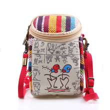 Women National Wind Printing Double Zipper Mobile Phone Bag for 5'' Coin Purses Clutch Small Wallet Messenger Crossbody HandBags euramerican wind harry potter coin purses slytherin school of magic coin bag mobile phone bag printing long card package