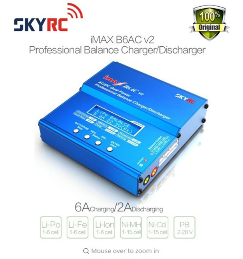 Free shipping SKYRC iMAX B6AC V2 (6A, 50W)Balance Charger/Discharger for Lipo Battery + EU/US/UK/AU plug power supply wire купить недорого в Москве