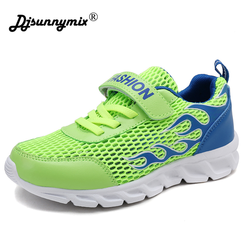 DJSUNNYMIX Children Shoes Spring Summer 4 Color flame Comfortable Breathable Air Mesh hook&loop Casual Sneakers Kids Boys Shoes air mesh breathable hook
