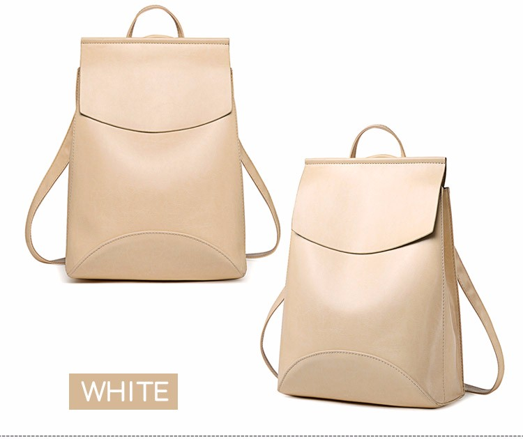 Fashion Women Backpack High Quality Youth Leather Backpacks for Teenage Girls Female School Shoulder white