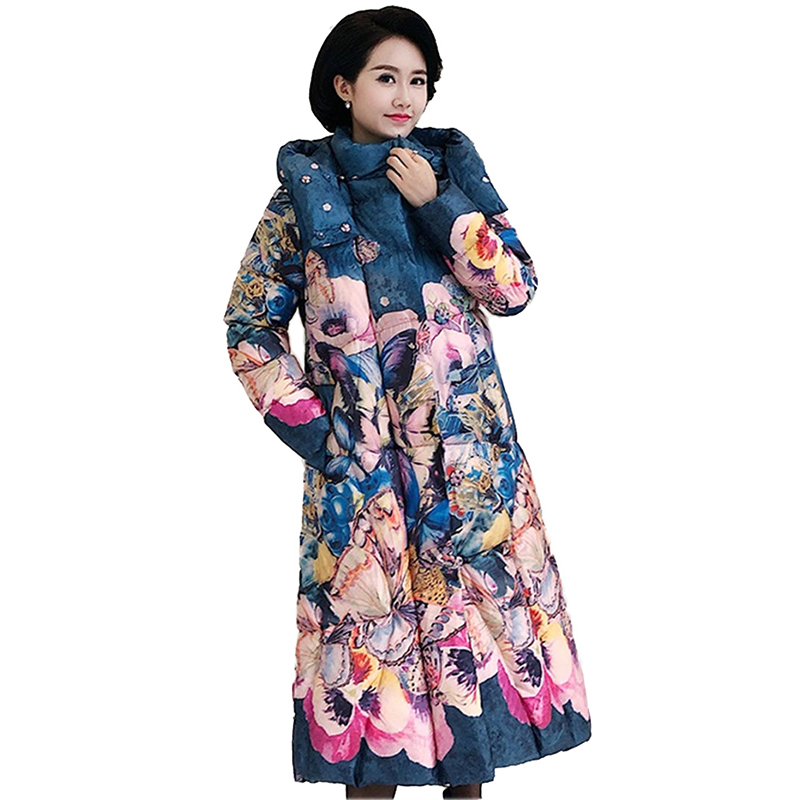 Winter Print   Parkas   Women 2019 New Down cotton jacket Plus size 5XL Thicken Warm Hooded Coat Female Loose Long Cotton Coats 2318