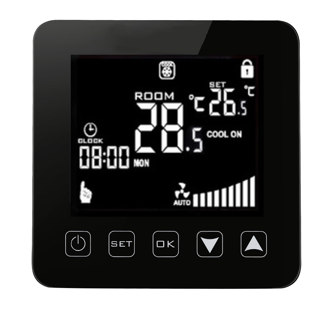 Air Conditioner Fan Coil Unit Thermostat LCD Display Touch Screen Programmable Room Temperature Controller hm digital valve shower controller 3 ways led touch screen control thermostat display lcd smart power outlet is compatible