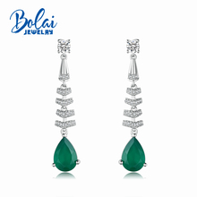 bolaijewelry,Long dangle gemstone earring natural green agate in 925 sterling silver fine jewelry for women lady daily wear gift