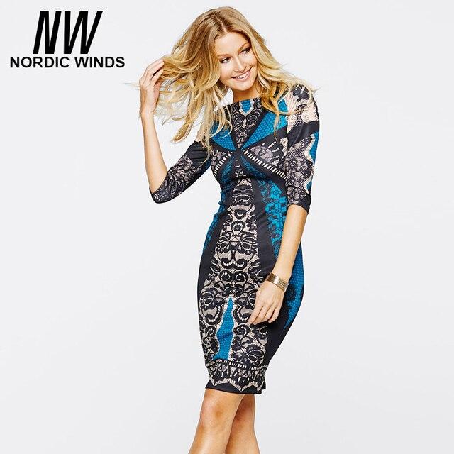 Nordic winds 2016 осень женская мода плюс размер о-образным вырезом половины рукав печати кружева оболочка bodycon dress vestidos