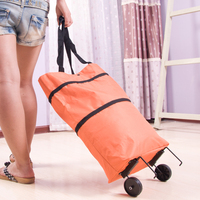 Fashion Oxford Shopping Bag With Folding Pulley Storage Bag Women Shopping Cart Portable Travel Bags Canvas