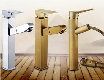 Free Shipping Pull out down Spout Spray head Antique brass bathroom basin Vessel Sink Faucet Water Tap