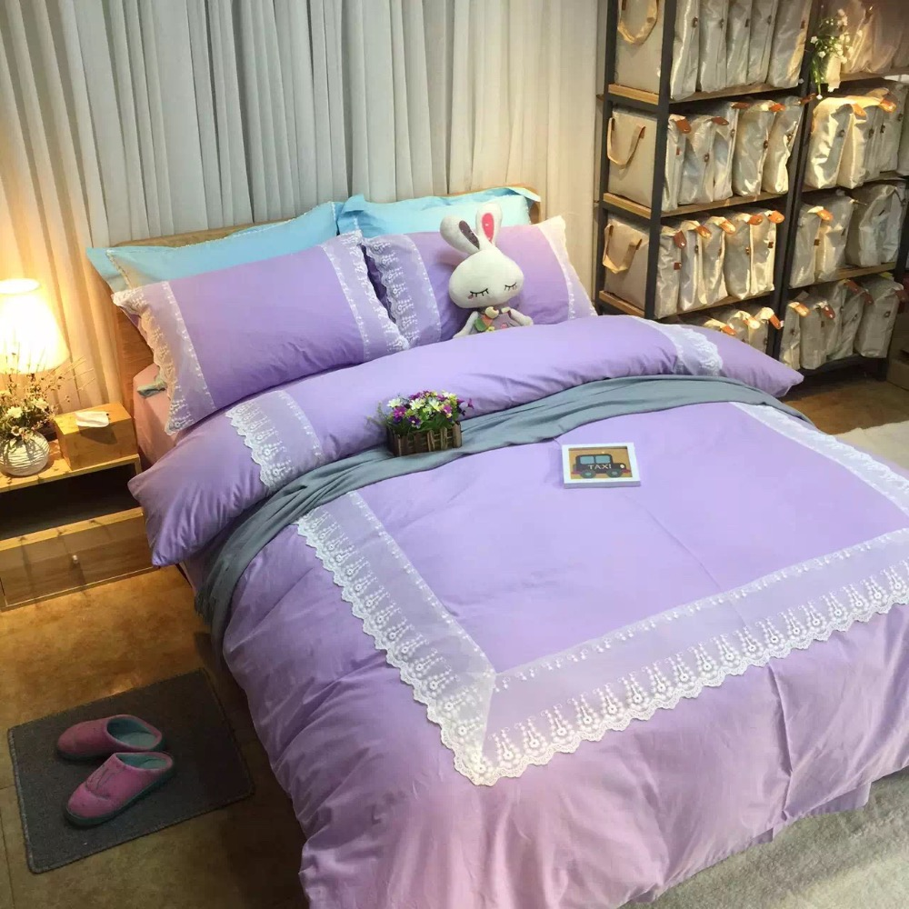 Light purple bed sets - 4pcs 100 Cotton Light Pastel Purple Satin Bedding Full Queen Size Bed Linen With White
