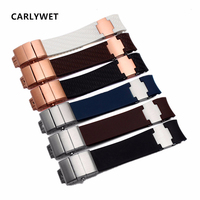 CARLYWET 22mm(20mm buckle) Rubber Watchbands Black Brown White Waterproof Curved End Silicone Rubber Watch Band Silver Clasp