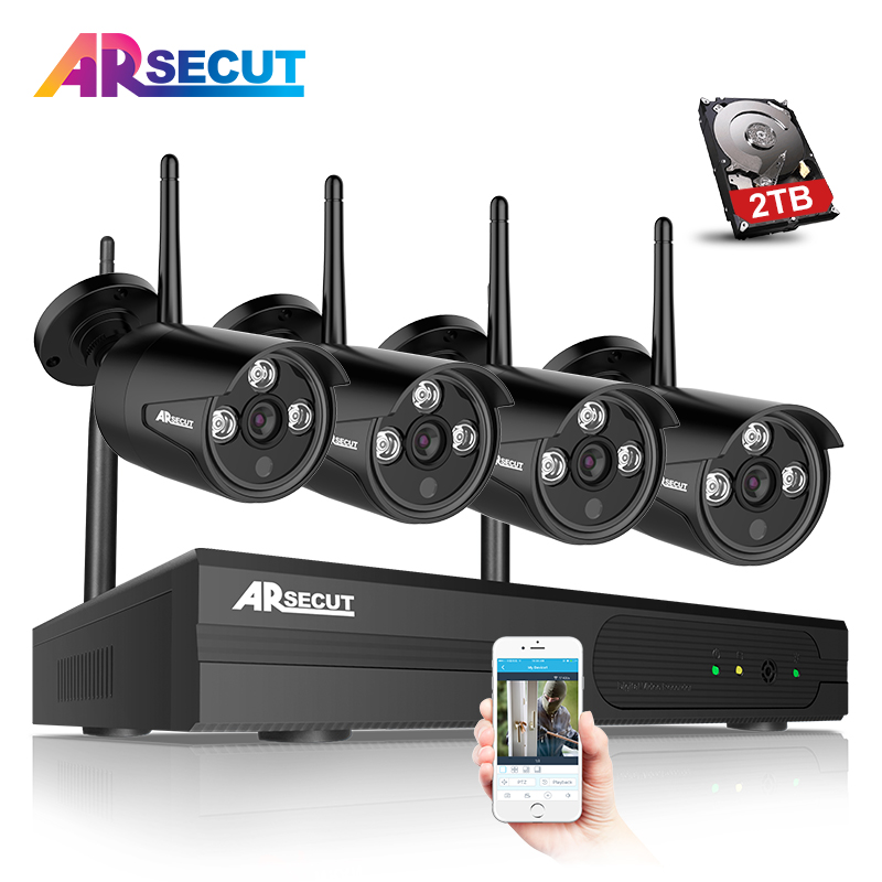 Plug And Play 4CH WIFI NVR CCTV System 1080P Outdoor IR Night Vison Security Camera Video Surveillance Kit 2TB HDD Mobile APP mdc3100lt b1 super night vison king exclusive 1 2 cmos mdc cctv camera with mscg glass original mdc camera without bracket