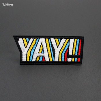 Letters YAY! Embroidered Patches Badge for Clothes Iron on Sewing Stickers Cloth Decoration Garment Appliques image