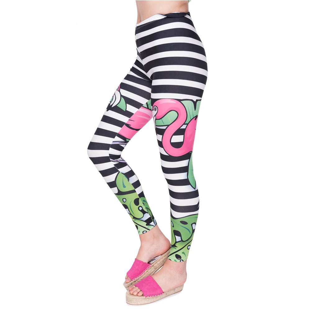 New Arrival Women Legging Tropical Flamingo Printing Leggings Fashion High Waist Woman Flexible Pants