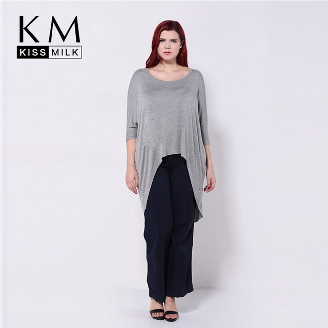 Kissmilk 2017 Women Plus Size  Asymmetrical Hem Batwing Sleeve Summer Casual Street Style Loose  Big Size T-Shirt3XL 4XL 5XL 6XL