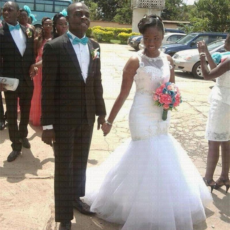 2019 African Pleated Lace Mermaid Wedding Dress Long Illusion Backless Bridal Gowns Vestido De Novia