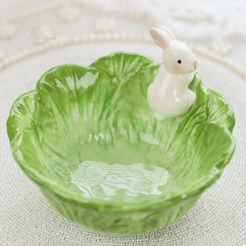 Us 27 0 Cartoon Rabbit Decorative Ceramic Bowl Home Decor Crafts Kitchen Accessories Animal Porcelain Storage Bunny Fruits Salad Bowl In Bowls