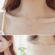 Простой Water Drop Кулон Циркон короткие Ожерелья для мужчин с серебряным покрытием Листья ключицы Цепи модные женские туфли украшения подарок